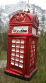 London Telefonzelle Glasanhänger Christbaumschmuck von Inge Glas